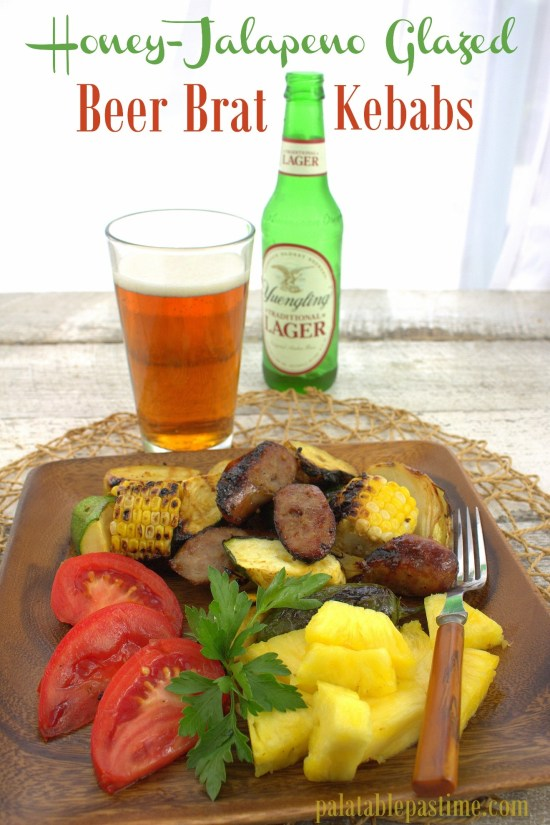 Honey Jalapeno Glazed Beer Brat Kebabs