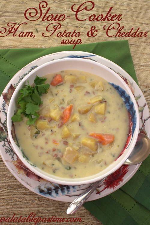 Slow Cooker Ham, Potato and Cheddar Soup