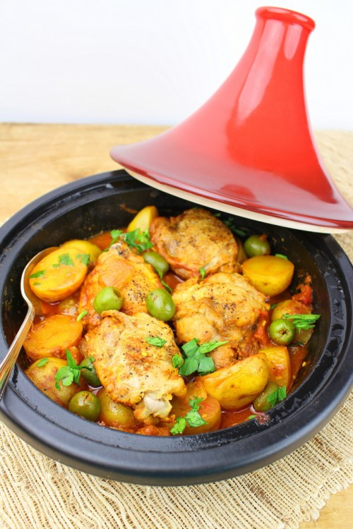 Moroccan chicken tagine with saffron potatoes, preserved lemon,  olives and ras-el-hanout spices