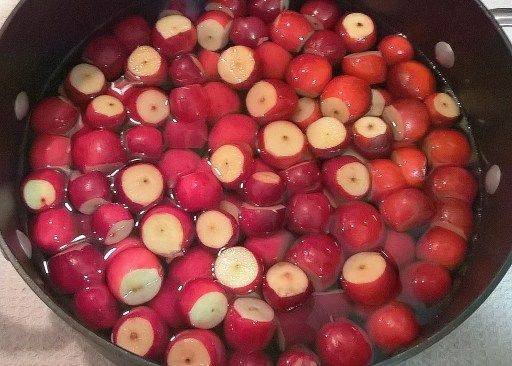 Trimmed Apples in Pot with Water
