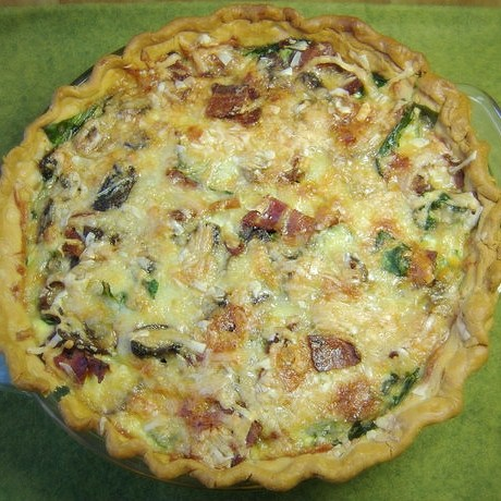 Bacon Quiche with Spinach and Mushroom