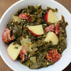 Braised Turnip Greens with Potato