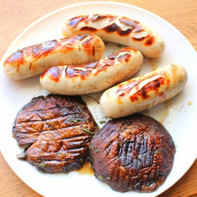 Grilled Mushrooms with Grilled Brats