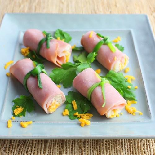 Ham Pinwheels with Potato and Cheese