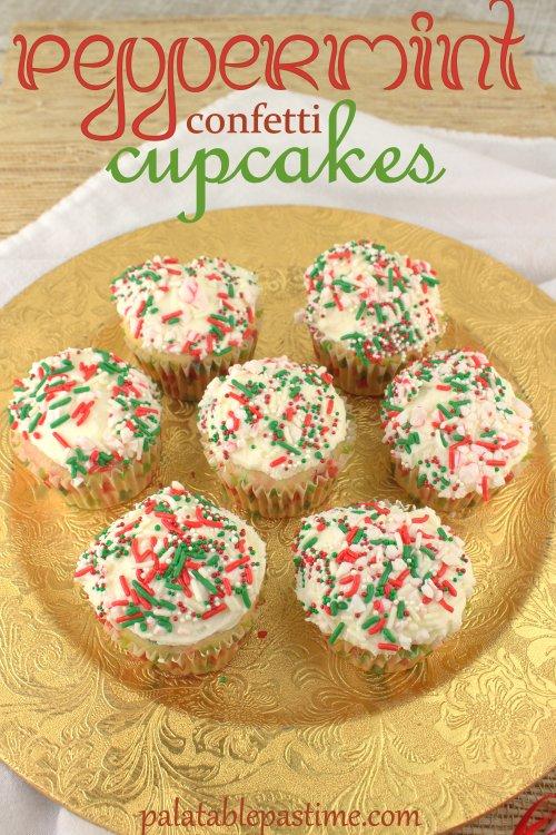 Peppermint Confetti Cupcakes