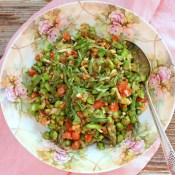 Pesto Salad with Asparagus, Tomato and Pine Nuts