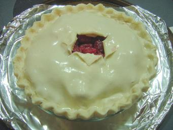 Pie crust brushed with egg white