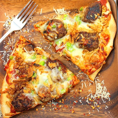 Sauerkraut and Meatball Pizza