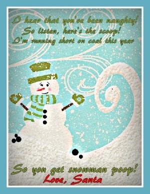 Snowman Poop Gift Tag