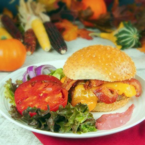 Bacon-Cheddar Turkey Burger with Cranberry Chipotle Mayo