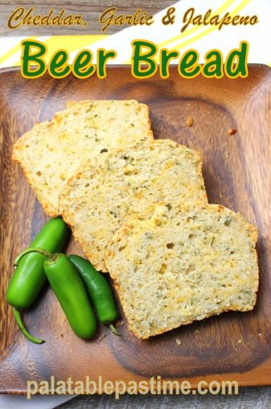 Cheddar, Garlic and Jalapeno Beer Bread