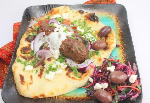 Ground Lamb Shish Kebas on Pita