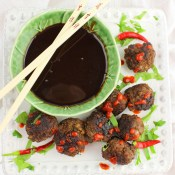 Asian Meatballs with Chocolate Satay Sauce
