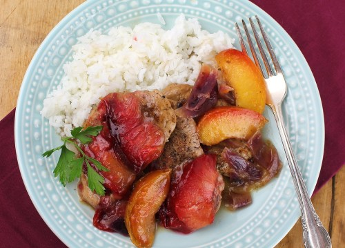 Pork with Gingered Pluots