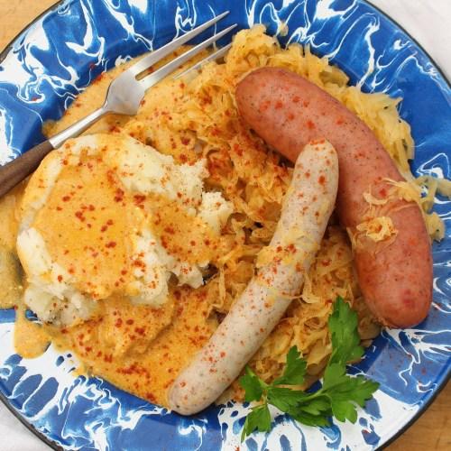 Wursteplatte with Potatoes and Paprika Cream Gravy
