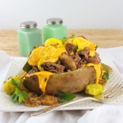 Loaded Philly Cheesesteak Baked Potato