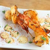 grilled prawns with curry aioli