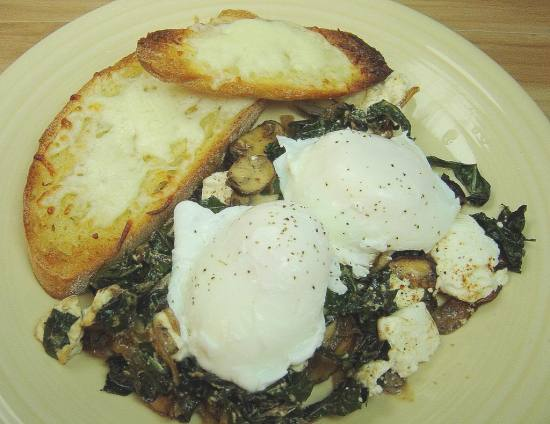 Poached Eggs on Kale