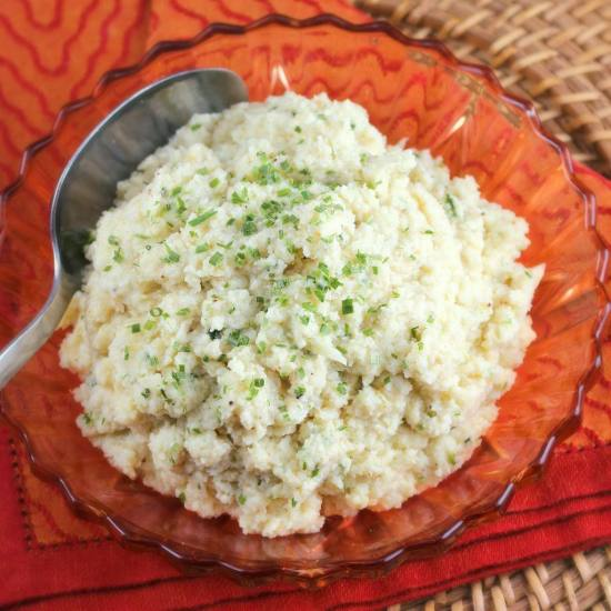 Roasted Cauliflower Mash with Boursin and Chives