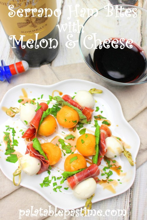 Serrano Ham Bites with Melon and Cheese #SundaySupper