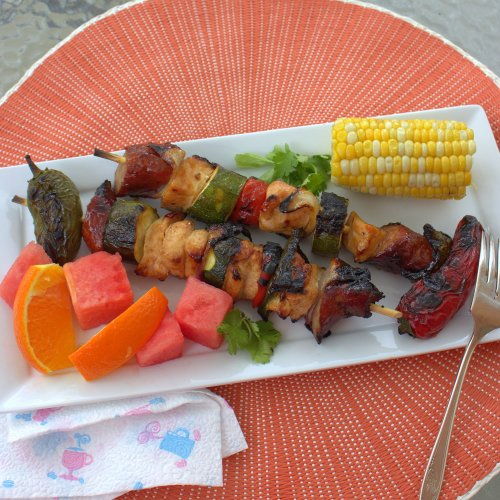 Tangerine Hatch Chile Honey Chicken Kebabs
