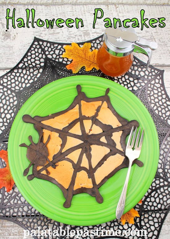 Halloween Pancakes- creepy crawly spiders in spider webs take over the breakfast table.