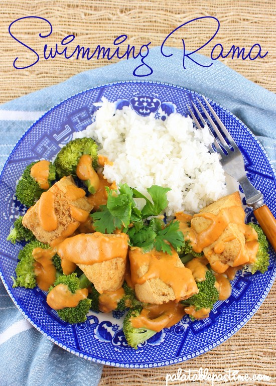 Crispy fried tofu and broccoli pieces are served with a satay type peanut sauce in this vegan recipe.