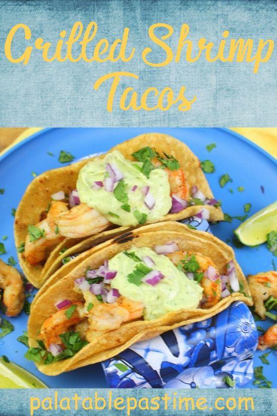 Grilled Shrimp Tacos with Avocado-Lime Crema