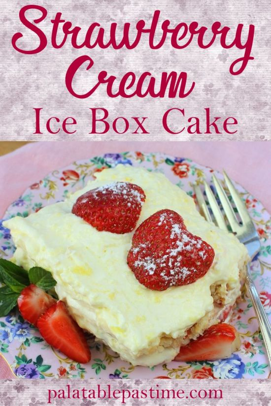 Strawberry Cream Ice Box Cake
