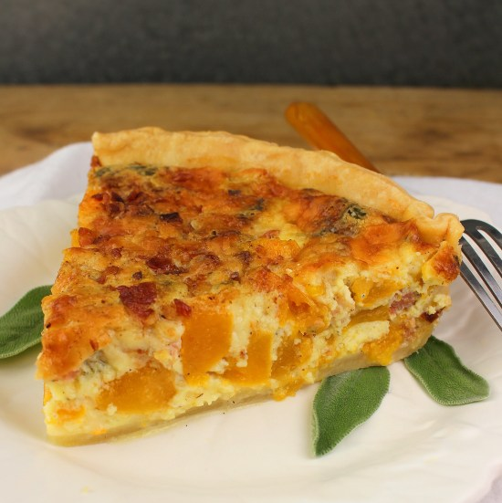 Fresh Pumpkin Quiche with Bacon and Sage