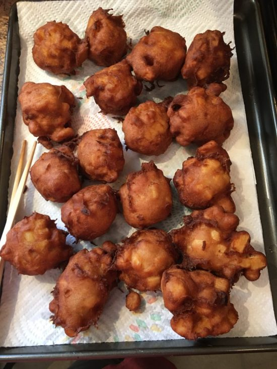 Draining Fritters after Frying