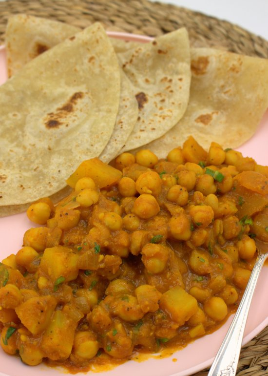 Chickpea and Potato Curry with roti