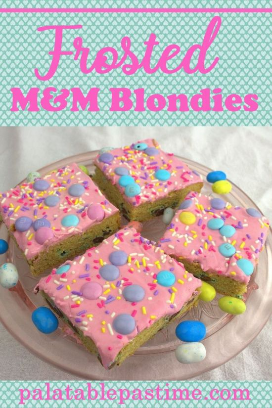Frosted M&M Blondies