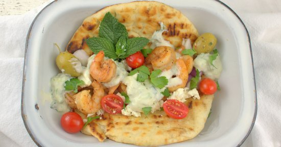 Grilled Shrimp Souvlaki on Pita