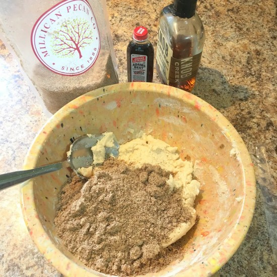 pecan cescent dough with pecan meal and vanilla