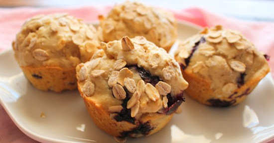 Blueberry Oat Flour Muffins
