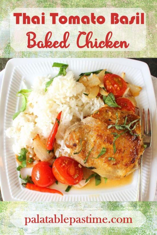 Thai Tomato Basil Baked Chicken