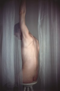 Learoyd. James with two white curtains, 2011