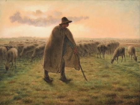 J.-F. Millet. Berger gardant son toupeau, 1865
