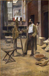 S. Rusiñol. Claraso al seu taller, 1889