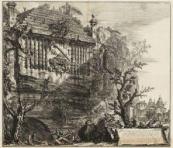 Piranesi. Sepolcro Regio, o Consolare, inciso nella rupe del Monte Albano, 1764