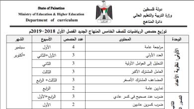Photo of الخطة الوزارية المقررة لمبحث الرياضيات الصف الخامس للفصل الأول