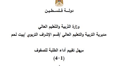 Photo of سجل تقييم أداء الطلبة للصفوف 1-4 للفصلين وفق برنامج E-school