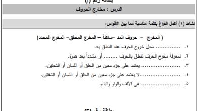 Photo of أسئلة هامة وشاملة لكافة دروس التلاوة والتجويد الصف التاسع الفصل الأول