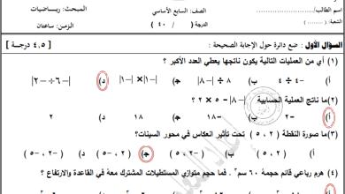 صورة امتحانات مجابة ورائعة لنهاية الفصل الأول لمبحث رياضيات الصف السابع