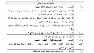 Photo of حلول نموذجية لأنشطة الدروس في مبحث التربية الإسلامية سادس الفصل الثاني