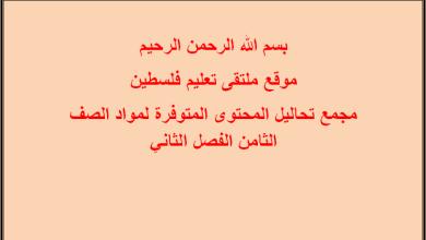 Photo of مجمع تحاليل المحتوى المتوفرة لمواد الصف الثامن الفصل الثاني