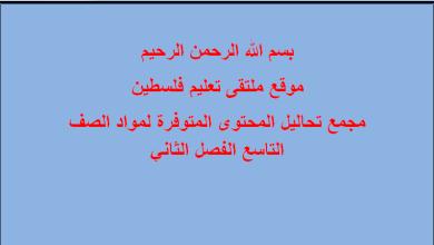 Photo of مجمع تحاليل المحتوى المتوفرة لمواد الصف التاسع الفصل الثاني