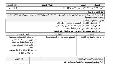 Photo of تحضير رائع بالمخرجات للدروس 14-19 لمبحث التربية الإسلامية ثالث الفصل الثاني