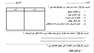 Photo of ورقة عمل رائعة لدرس إن وأخواتها لقواعد اللغة العربية سابع الفصل الثاني